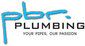 """pbr"" lower case letting in cyan blue above black text in capital letters saying ""PLUMBING"" and then followed on a new line by ""YOUR PIPES OUR PASSION"" advertising a perth plumbing business"