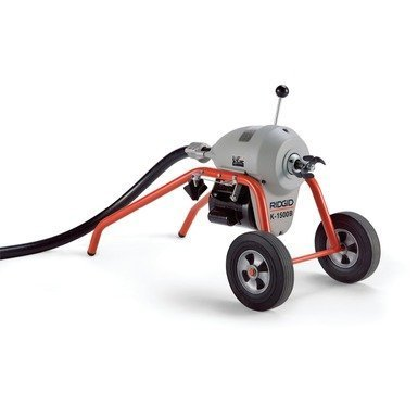 grey rigid drain mahine with black hose and wheels and red frame